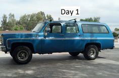 "1976 Chevrolet Suburban 1500  Day 1 BEFORE 38"" 15.5 Super Swamper Tires & 6""…"