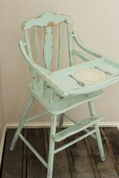 Painted vintage high chair I like the idea to paint on the top where spoons and forks go..then they learn as they grow up