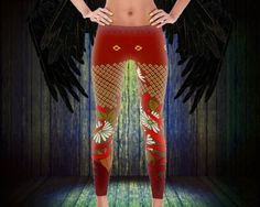 "Floral, pretty, and classic! These CindelRaven printed leggings are designed with the classic woman in mind! Made with stretchy material that doesn't fade!    Description:  • Design - ""Blossoms""  • Color- red/white/green  • Age Group - adult  • Gender - female/unisex  • Available Sizes - xs, s, m, l, xl  • Item Condition - new  • Materials - 82% polyester, 18% spandex  • Features - elastic waistband and four-way stretch  • Fabrics - imported and then printed/made in USA    *ATTENTION…"