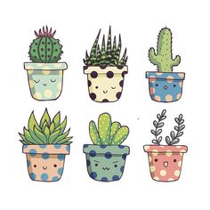 You succ! Cute succulents None by Origami StudioSet of 6 happy succulent stickers printed on waterproof sticker paper. All stickers are individually cut and sent in cellophane bag and padded envelope. Succulents Drawing, Cactus Drawing, Cactus Painting, Plant Drawing, Cactus Art, Succulents Painting, Watercolor Cactus, Cactus Doodle, Succulents Wallpaper