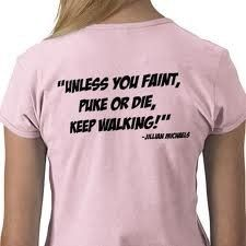 :-)  I wouldn't faint, puke, or die likely from walking...but running, kickboxing, or karate could do it...