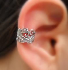 Sterling Silver Handcrafted  Textured Ear Cuff  Hoop Earring Cartilage/catchless/helix.  via Etsy.