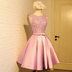 Sleeveless Prom Dresses, Homecoming Dress With Appliques, Short Homecoming Dress, Prom Dresses Pink Homecoming Dress Short Homecoming Dresses A Line Prom Dresses, Prom Party Dresses, Dresses For Teens, Homecoming Dresses, Evening Dresses, Short Dresses, Formal Dresses, Dress Prom, Quinceanera Dama Dresses