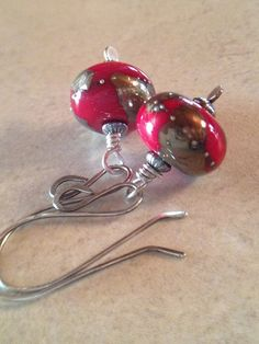 Red Handblown Glass Earrings Holiday Earrings Red by LadonnaStudio, $40.00