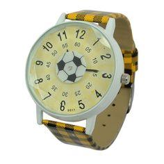 Unisex Football Pattern Wrist Watch with Yellow Band Unisex Football Pattern Wrist Watch with Yellow Band [51301] - US$3.16 : Aladdinmart