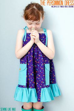 Sewing Like Mad: The Persimmon Dress by Willow & Co / Mouse House Creations.- like the color combo