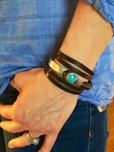 Joanna Gaines, Joanna Gaines Jewelry, leather wrap bracelet, silver and turquoise bracelet, leather bracelet, leather cuff, cuff bracelet by IndieLeather on Etsy https://www.etsy.com/listing/293030759/joanna-gaines-joanna-gaines-jewelry