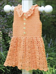 Crochet - Children & Baby Patterns - Orange Baby Dress With Collar