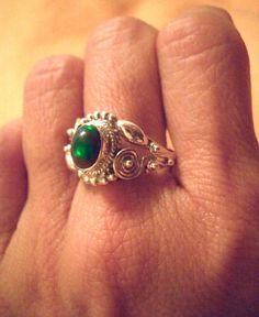Sz 8, Unusual Natural ETHIOPIAN WELO OPAL Dark Green Gemstone, 925 Solid Sterling Silver Magnificent ring Jewellery!! by Ameogem on Etsy