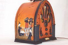 Table Lamp Vintage Radio Halloween Witch Hand Painted Primitive Folk Art Rjpe | eBay