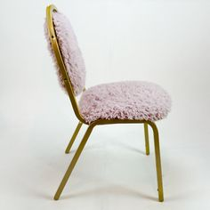 Retro Fuzzy Reupholstered Steel Chair by QBCCLE on Etsy