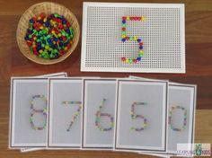 Invitation to play Number Peg Board Printable Montessori Math, Preschool Math, Kindergarten Activities, Learning Numbers, Math Numbers, Play Number, Early Years Maths, Kids Daycare, 4 Kids