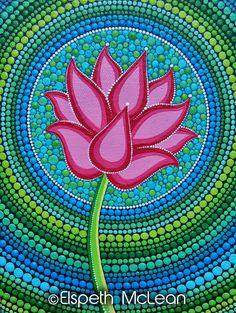 Expanding Lotus by Elspeth McLean Lotus Painting, Dot Art Painting, Mandala Painting, Stone Painting, Pintura Zen, Elspeth Mclean, Mandala Dots, Aboriginal Art, Mosaic Art