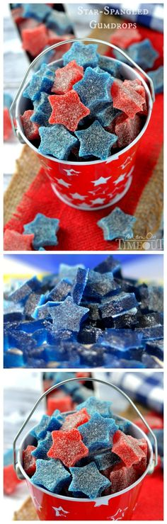 East-to-make Star-Spangled Gumdrops are perfect for Memorial Day, 4th of July, the Olympics and Labor Day as well! Made with applesauce and Jell-O - you pick the flavor and color! An easy recipe everyone will love!
