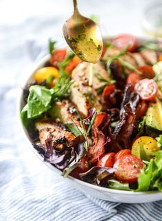 rosemary chicken, bacon and avocado salad  with ROSEMARY DRESSING TO DIE FOR howsweeteats.com