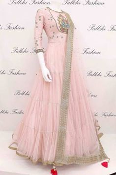 Pale Pink Designer Outfit with Elegant Handwork From Pale pink designer flared suit featuring elegant pattern all over the flare.Elegant outfit with beautifully crafted work & duppata Indian Gowns Dresses, Indian Fashion Dresses, Indian Designer Outfits, Pakistani Dresses, Indian Outfits, Designer Dresses, Stylish Dresses, Casual Dresses, Moda Indiana
