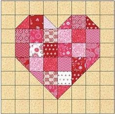 Image result for Heart Quilt Block Pattern