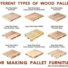 To Know If A Pallet Is Safe To Use Different types of wood pallets for making pallet furniture.Different types of wood pallets for making pallet furniture. Diy Wood Pallet, Diy Pallet Projects, Wooden Pallets, Outdoor Pallet, Pallet Art, Pallet Seating, Pallet Bench, Wooden Pallet Size, Skid Pallet