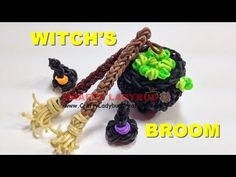 Rainbow Loom Band HALLOWEEN WITCH BROOM EASY Charm Tutorials/How to Make by Crafty Ladybug - YouTube