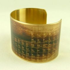 Steampunk Style Brass Cuff Bracelet - Chemical Periodic Table - Chemistry Jewelry. $40.00, via Etsy.