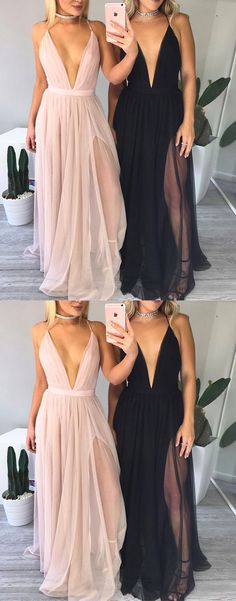 Simple V Neck Long Prom Dress, Evening Dress For Teens - All Prom - Simple V Neck Long Prom Dress, Evening Dress For Teens - All Prom - Long Lace Up Chiffon Prom Dresses, Classy Formal Party Dress with Slit Simple Long Prom Dress,Simple A-line V-neck Prom Dresses For Teens, Grad Dresses, Trendy Dresses, Elegant Dresses, Homecoming Dresses, Dress Outfits, Nice Dresses, Evening Dresses, Casual Dresses