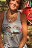our JRR toLKIEN tribute tee...not all who wander are lost. printed on a flowy racerback tank... with A-line body and...