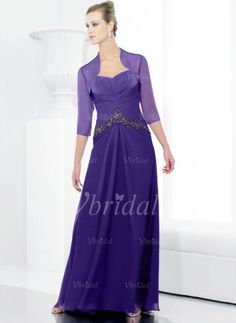 Mother of the Bride Dresses - $176.39 - A-Line/Princess Sweetheart Floor-Length Chiffon Charmeuse Mother of the Bride Dress With Ruffle (00805007140)