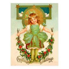 Vintage Christmas Greeting - Little gir Postcard - Xmas ChristmasEve Christmas Eve Christmas merry xmas family kids gifts holidays Santa