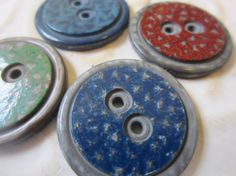 Vintage Buttons 4 large cottage hand painted by pillowtalkswf