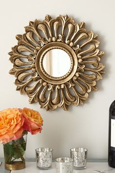 Feuille Mirror - Gilt Mirror, Round Gilt Mirror, Lotus Blossom Mirror | Soft Surroundings
