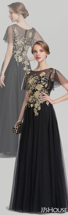 A-Line/Princess Scoop Neck Floor-Length Tulle Mother of the Bride Dress With Lace#JJsHouse #Mother dresses