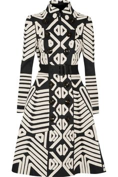 Burberry Crochet-Appliquéd Cotton Trench Coat- Black and cream cotton- Hook and button fastenings through dou Burberry Coat, Burberry Prorsum, Burberry Print, Burberry Handbags, Looks Style, Coat Dress, Trench Coats, African Fashion, Shirt Designs