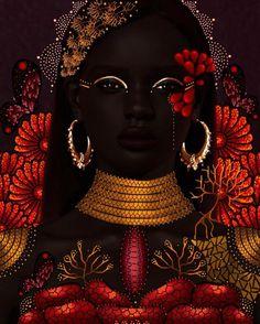 Black Love Art, Black Girl Art, Art Girl, Black Girls, Black Women, African Goddess, Afrique Art, African Artwork, Buch Design