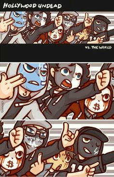 Hollywood Undead vs. The World, Hollywood Undead members, funny, comic, text…