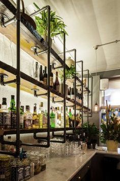 Project - HARTSYARD:Seed - Architizer industrial bar back bar, bottle display