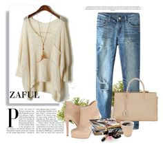"""http://www.zaful.com/solid-color-front-pocket-loose-sweater-p_75230.html?lkid=2989  http://www.zaful.com/hole-bleach-wash-zipper-fly-jeans-p_74491.html?lkid=2989"" by goldenhour ❤ liked on Polyvore featuring Yves Saint Laurent, Chinese Laundry, Nearly Natural and Chanel"