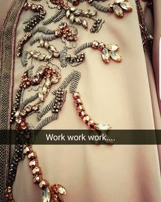 #work#embroidery#handmade#bronze#rosegold#creation#details#design#caftan #fes#Morrocco Pearl Embroidery, Tambour Embroidery, Hand Work Embroidery, Couture Embroidery, Beaded Embroidery, Embroidery Designs, Motifs Perler, Gold Work, Fabric Jewelry