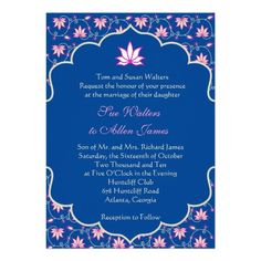 Navy and Pink Indian Lotus Floral Invitation Illustrated Wedding Invitations, Budget Wedding Invitations, Elegant Invitations, Floral Invitation, Wedding Invitation Cards, Zazzle Invitations, Invitation Design, Invites, Indian Invitations