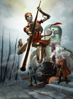 Monkey King (Journey to the West) Journey To The West, Old Wife, Ganesha Art, Monkey King, The Monks, Conceptual Art, 16th Century, Dark Fantasy, Cyberpunk