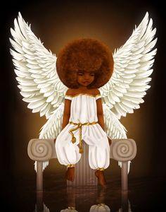 Lil' Angel Art Print by kiratheartist Black Love Art, Black Girl Art, African American Art, African Art, Black Art Pictures, Black Angels, Black Artwork, Afro Art, Dope Art