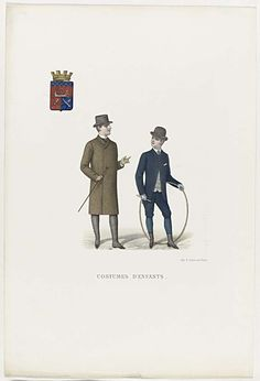 Anonymous | Costumes d'Enfants, ca. 1888, Anonymous, A. Lemercier, c. 1888 | Kinderkleding. Twee jongens van wie één met een hoepel en stokje in de handen. Links: halflange mantel van bont (?) met sjaalkraag. Accessoires: hoed, wandelstok, lange slobkousen. Rechts: jas met één knoop gesloten op een gestreept vest en kniebroek. Das en pochet. Accessoires: bolhoed, handschoenen, laarzen met hakken.