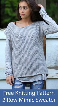 """Free Sweater Knitting Pattern Mimic Top Vest Easy drop-sleeve boat neck pullover can be worn vest-like) or alone as a top. Knit flat with a 2 row repeat with a broken rib. Sizes 38 (48)"""" circumference at bust. Designed by Veronika Jobe. DK weight yarn."""