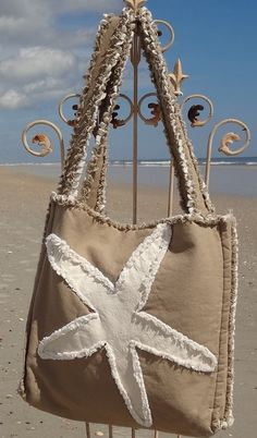 Sea Beach Bag - Starfish Ivory on Khaki