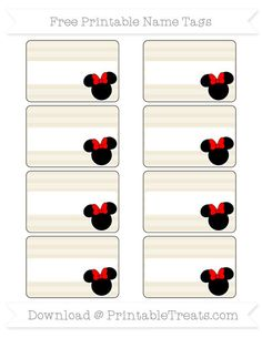 Free Eggshell Horizontal Striped  Minnie Mouse Name Tags