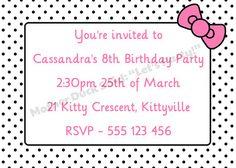 Hello Kitty Inspired Birthday Party Invitation