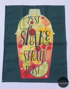 Cocktail shaker tea towel by HouseofMacGuffin on Etsy