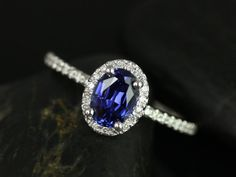 Ultra Petite Federella 14kt White Gold Thin Oval Blue Sapphire Halo Engagement Ring (Other metals and stone options available)