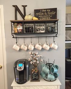 Coffee Bar Ideas - Looking for some coffee bar ideas? Here you'll find home coffee bar, DIY coffee bar, and kitchen coffee station. Coffee Nook, Coffee Bar Home, Coffee Wine, Coffee Bar Ideas, Starbucks Coffee, Iced Coffee, Coffee Drinks, Coffee Mug Display, Bunn Coffee