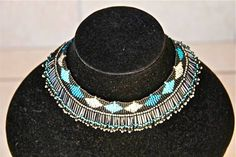African Zulu Beaded Necklace -  Turquoise white and black with silver accents by Hadeda on Etsy