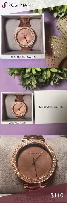 Michael Kors Rose Gold Watch The face is adorned with two layers of crystal bling! Do I need to continue? This watch is rose gold heaven!🙌🏼 features: water resistance KORS Michael Kors Accessories Watches
